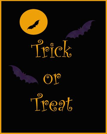 purple Halloween bats poster on black illustration