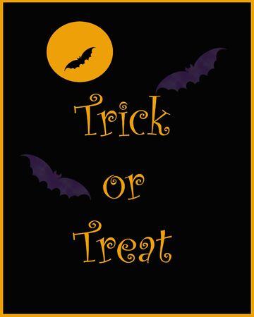 purple Halloween bats poster on black illustration