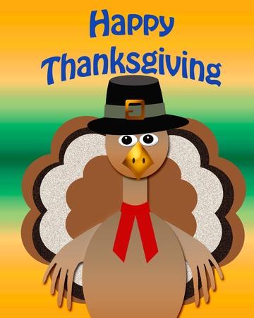 巡礼者の衣装のカラフルなイラストと感謝祭の七面鳥