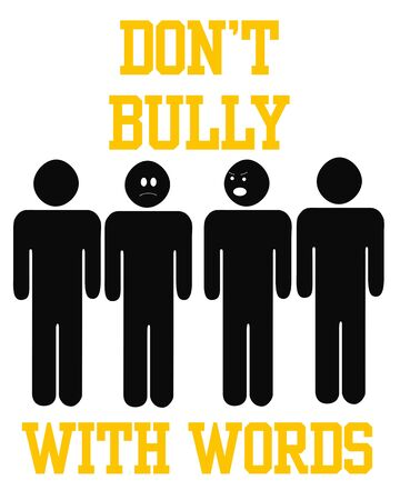 boast: bully with words poster black and gold illustration Stock Photo