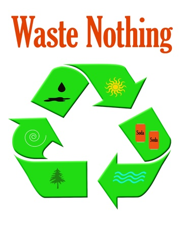 colorful recycle symbol with assorted objects illustration Stok Fotoğraf