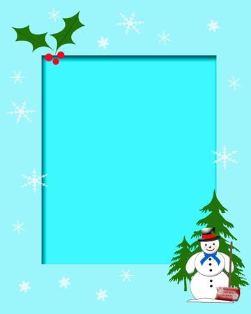 snowman with shovel on blue background illustration illustration