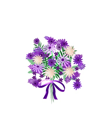 bouquet of purple and lavender flowers illustration Stock Illustration - 10458154