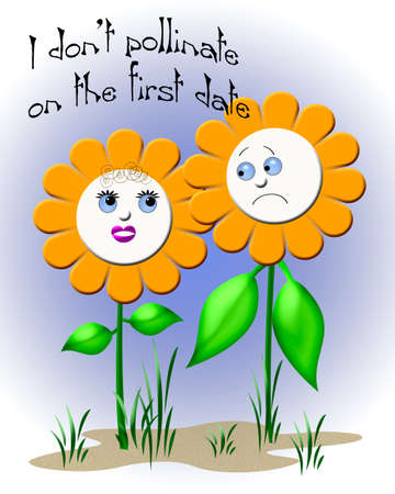daisies on a date colorful illustration Stock Photo