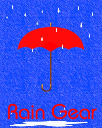 torrent: red umbrella and raindrops on blue background illustration Stock Photo