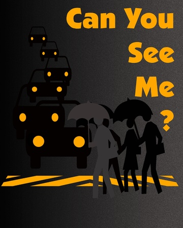 pedestrian and traffic poster black and gold illustration Stock Illustration - 10509295