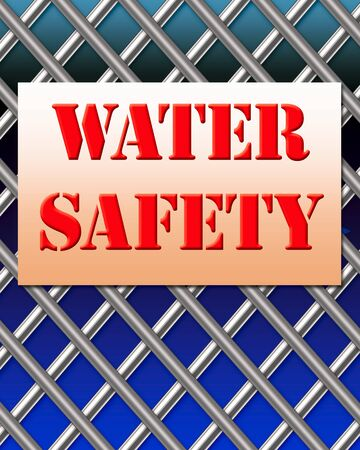 large metal grid with sign posted water safety illustration Фото со стока