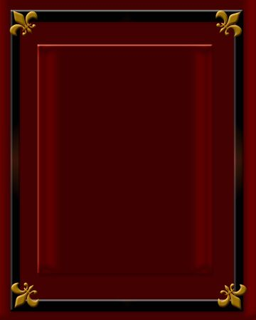 fittings: dark red velvet frame with brass fittings illustration Stock Photo