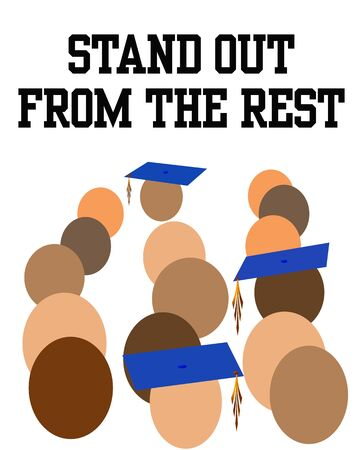 obvious: graduates standing out in a crowd illustration