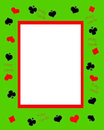 play cards green black and red invitation illustration Stok Fotoğraf