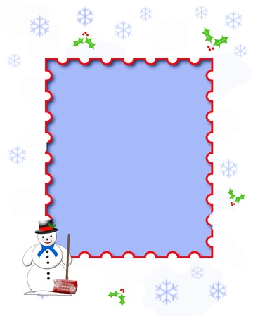 snowman with shovel on snowflake and holly background illustration illustration