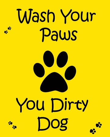 wash your hands: wash your hands poster black paw on yellow background illustration Stock Photo