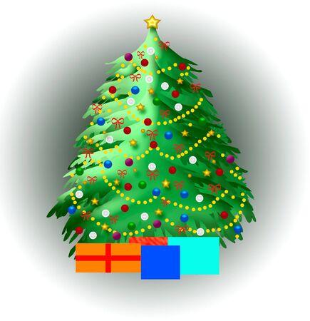 vignette: decorated Christmas tree on vignette background illustrated