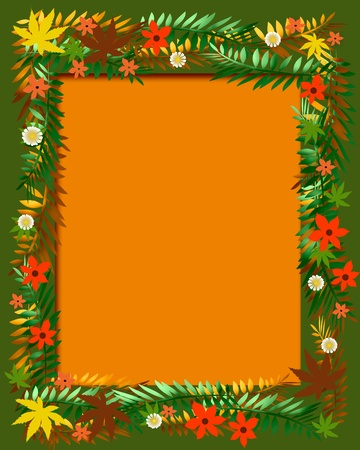 blank center: colorful autumn flowers scrapbook page blank center illustration Stock Photo