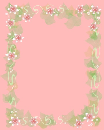 soft pink flowers frame blank center illustration Zdjęcie Seryjne
