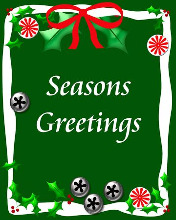 bells candy and holly on green seasons greetings illustration Stock Illustration - 11075545