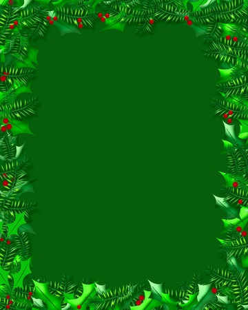 holly berries and evergreens frame on blank green illustration  illustration