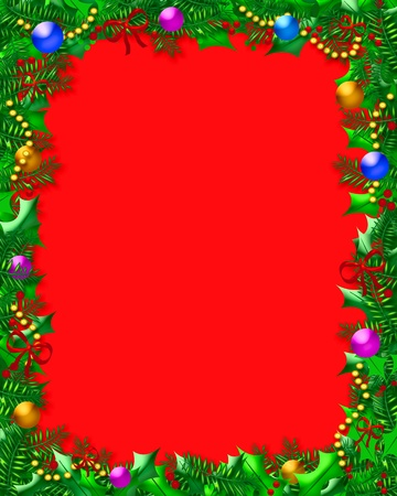 holly berries and ornaments frame on blank red illustration Stock Illustration - 11075550