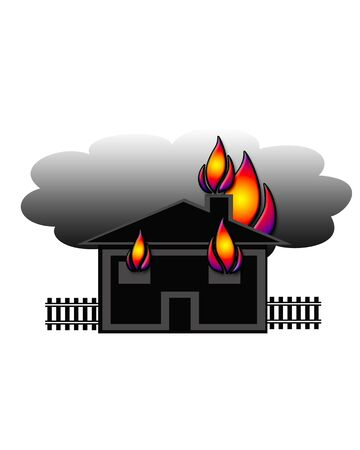 simple house fire illustration colorful flames on white Фото со стока