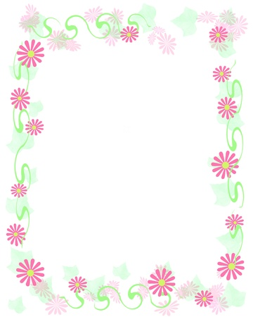 soft pink flowers frame blank center illustration Imagens