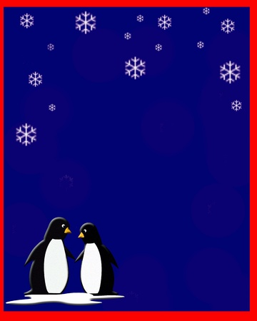 penguin couple on a snowy night illustration Фото со стока
