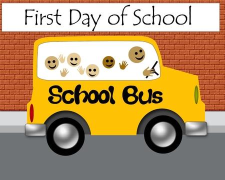 child sitting: yellow school bus on city street illustration