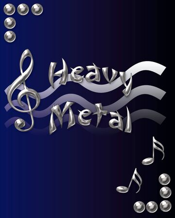 blue background: metal musical symbols on gradient background illustration Stock Photo