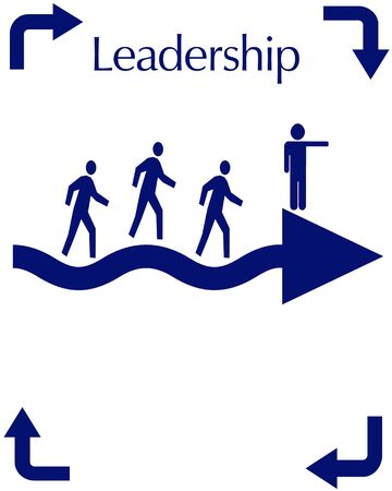 leadership figure pointing the way blue on white background illustration