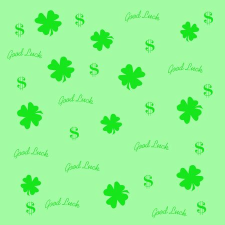 good luck four leaf clover and dollar signs illustration illustration