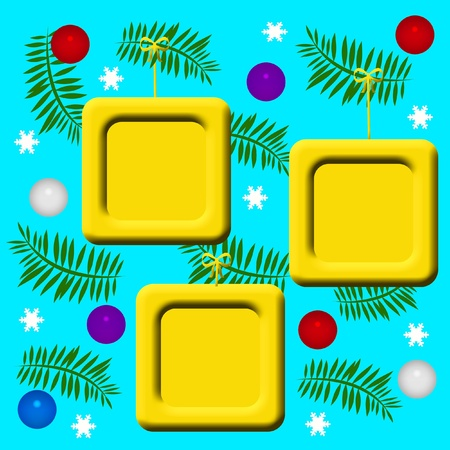 yellow picture frames hanging from Christmas tree boughs illustration