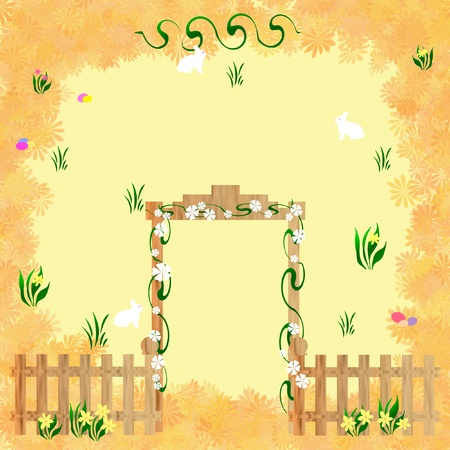 flowers with white bunnies and fancy gate illustration illustration