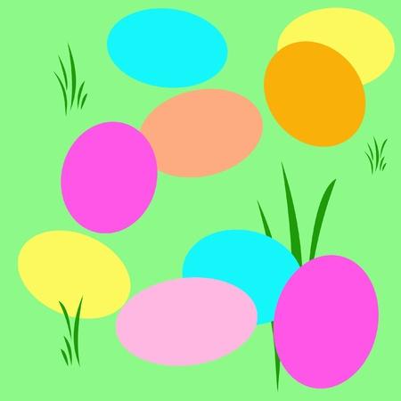 Pasen eieren verspreid in het gras illustratie