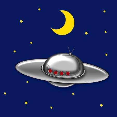 disco volante: disco volante in cielo notturno con stelle e luna illustrazione