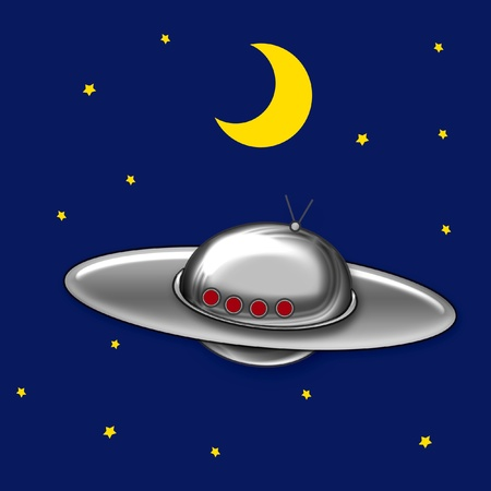 flying saucer in night sky with stars and moon illustration illustration