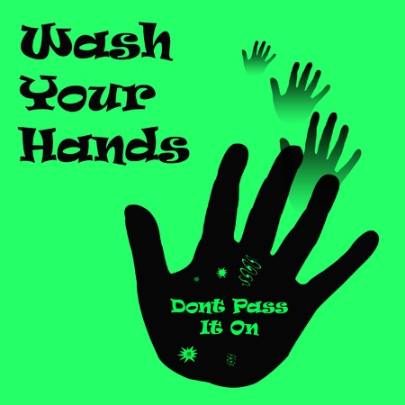 wash hand: hands and germs on bright green illustration  Stock Photo