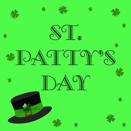 st pattys: shamrocks and hat on green background illustration Stock Photo