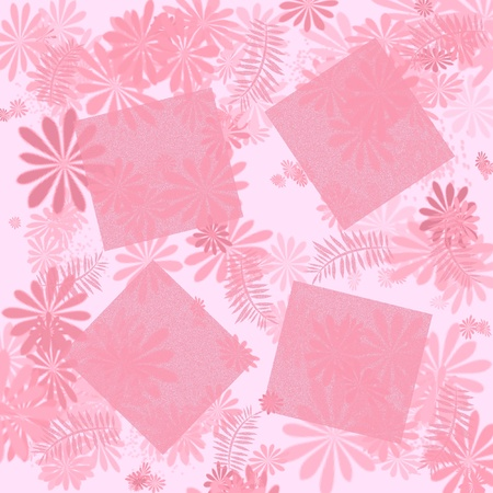 pink flowers frame  with blank cutouts illustration