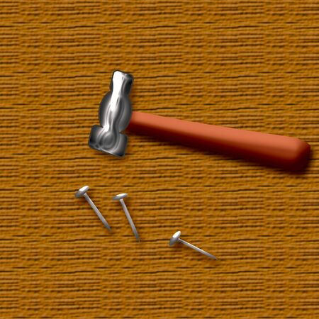 erect: hammer and nails with wood background illustration poster