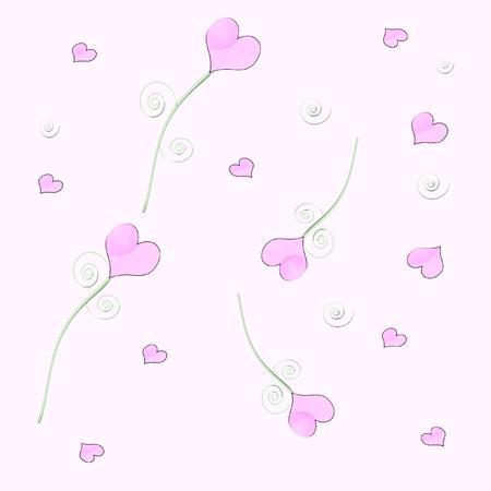 パステル ピンクと緑の様式化された心の図