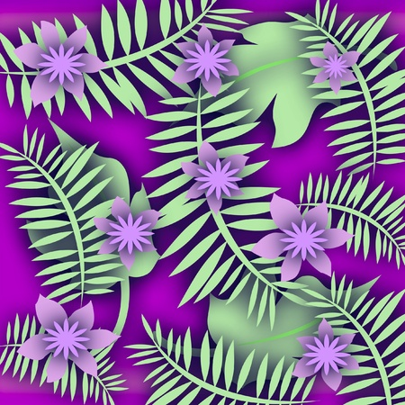 散乱の葉とラベンダーの花のスクラップ ブックのイラスト