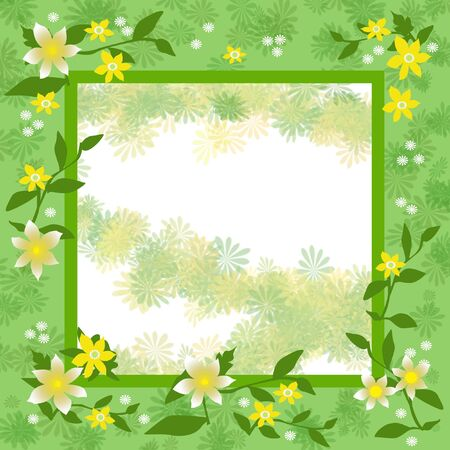 flowers frame  with blank cutout center illustration