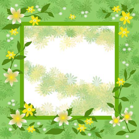 faint: flowers frame  with blank cutout center illustration