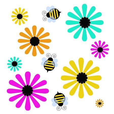 バンブレ蜂と白図に色とりどりの花
