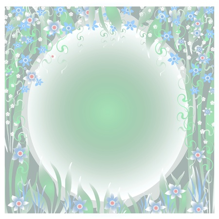 dreamy flower garden frame  with blank cutout center illustration Stock Photo