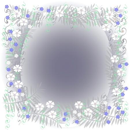 blank center:  dreamy flower frame with blank center illustration