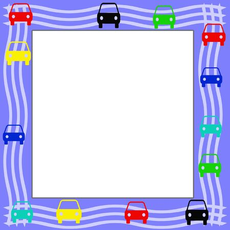 colorful cars around blank sign center illustration