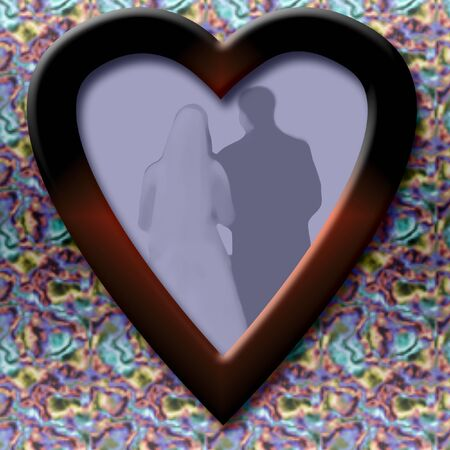 wedding photo in wooden heart frame illustration
