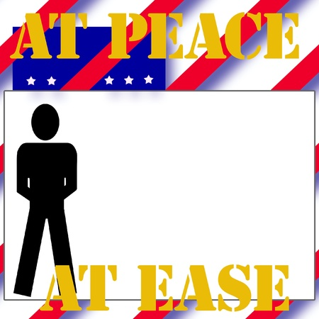 at ease: red white and blue soldier at ease illustration