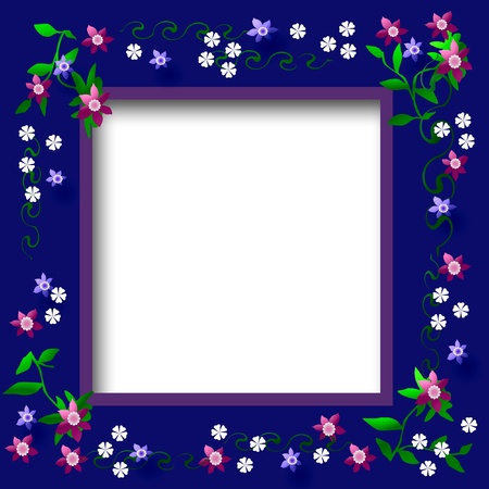 blank center: flowers and vines frame with blank center illustration
