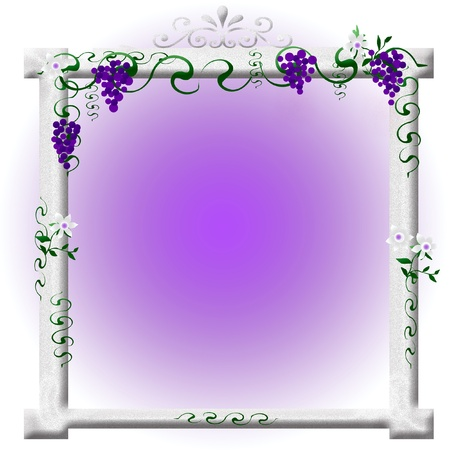 grape arbor, vine and flowers on stone arch illustration